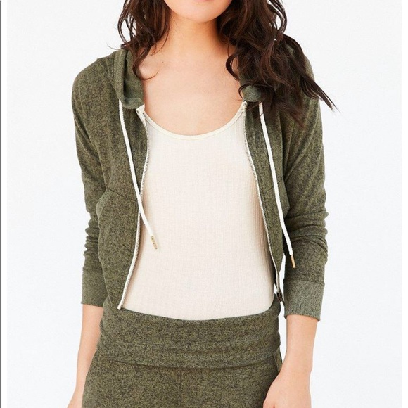 3186a759581f Out From Under Tops | Urban Outfitters Cropped Brynn Zip Hoodie ...